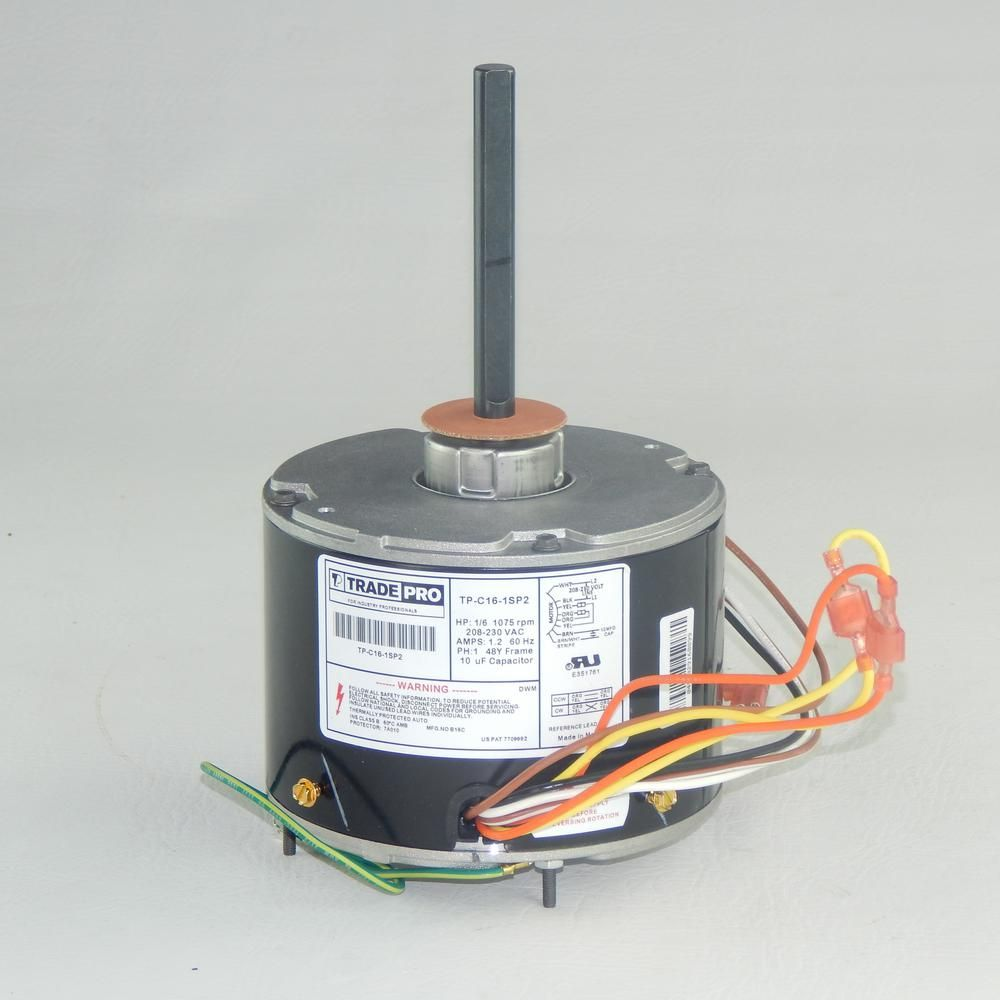 Replacement Condenser Fan Motor 1/6 HP Single Sd 1075 RPM 230 ... on