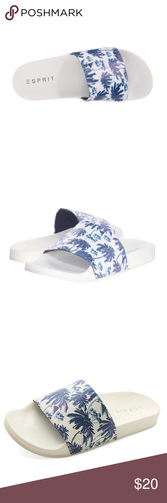 Esprit palm slide Enliven your ensembles with this slide's charming print. The slip-on design ,Cushioned footbed, new never been worn , size 7. These are super comfortable I have one myself & I love it .  There is a yellowish line around the sole which I noticed myself after purchasing , it's not really noticeable when u wear them u have to be super picky like me to notice that Esprit Shoes Sandals