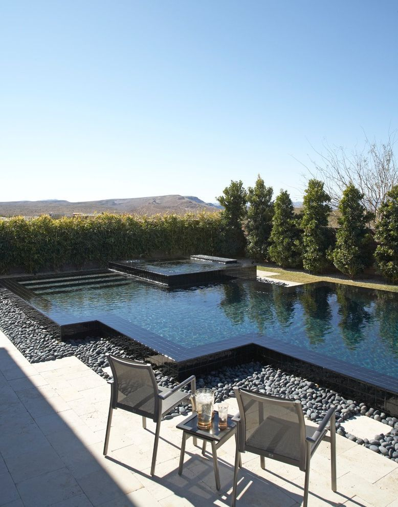 Pool Design Las Vegas Contemporary Pool And Black Tile Deco Desert Gray  Armchair Landscaping Outdoor Furniture