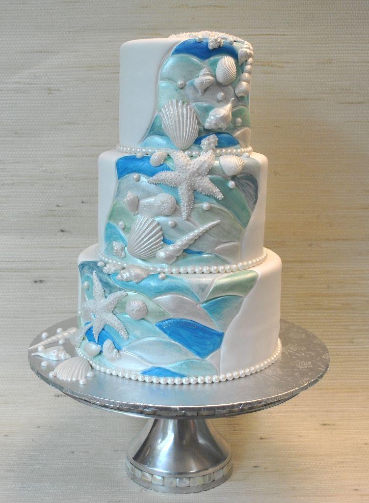 Blue White Turquoise Beach Theme Wedding Cake The Cake Zone