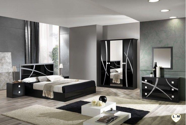 Amazonie Laque Noir Et Argent Ensemble Chambre A Coucher Bedroom