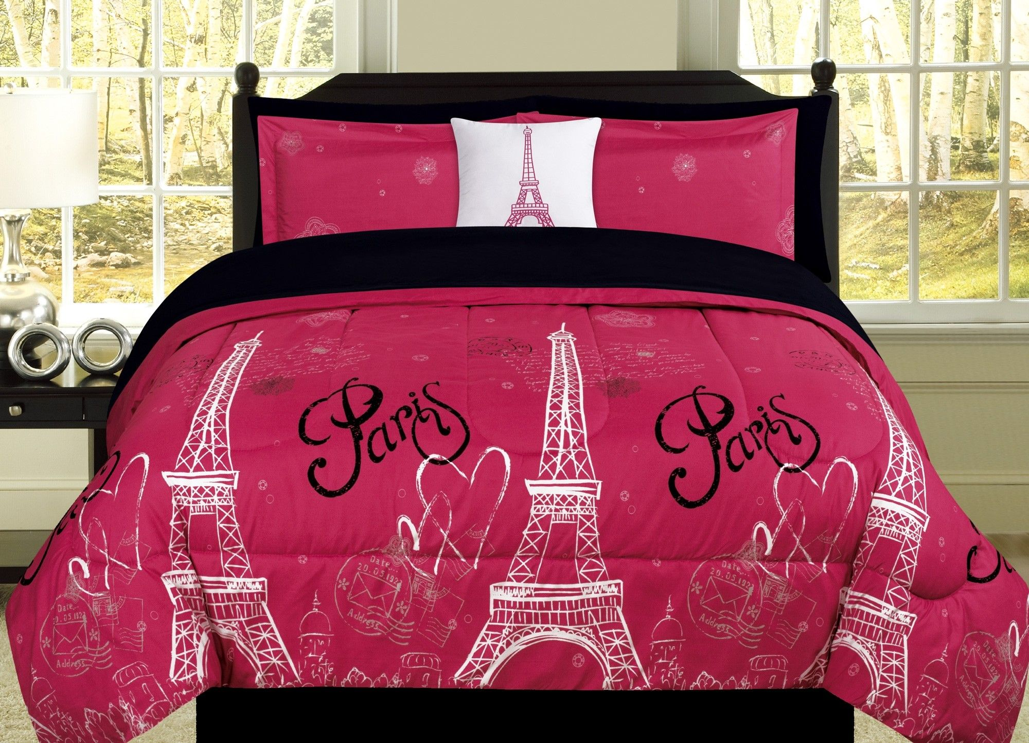 Beatrice Paris Love Twin forter Pink Black Eiffel Tower Bedding