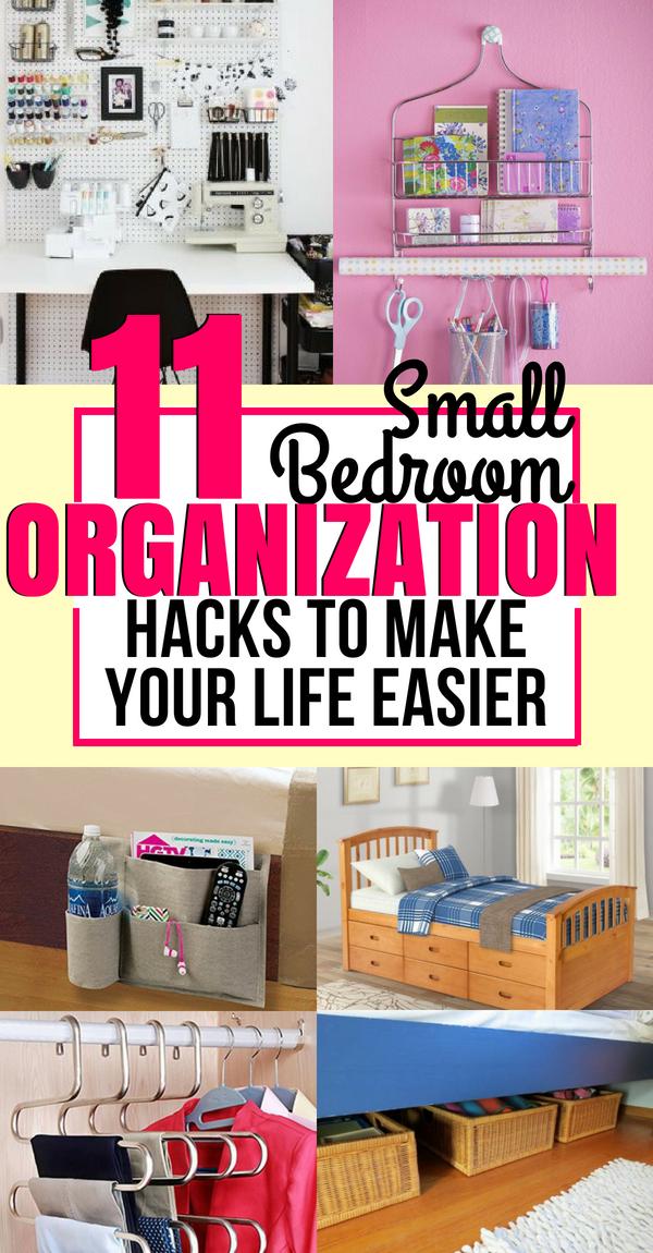 11 genius organization hacks for tiny bedroom organization ideas rh pinterest com