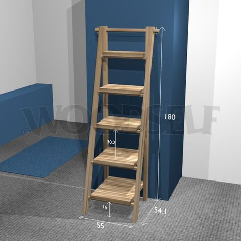 Etagère échelle - plan du meuble- meuble a faire soi-meme WOODSELF