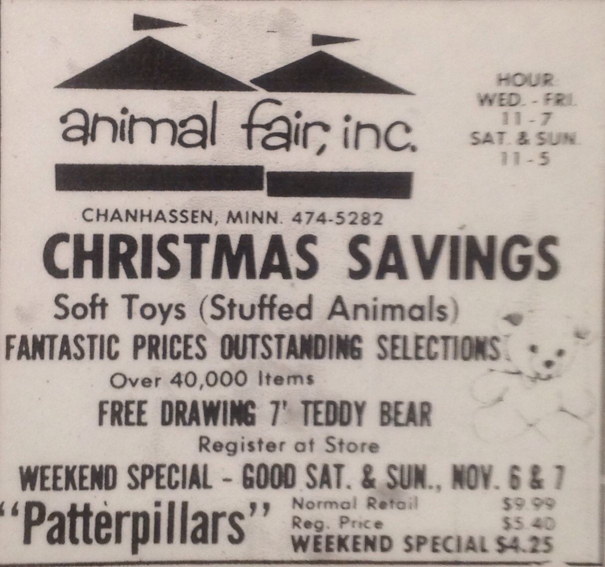 Ad for animal fair outlet store chanhassen mn source