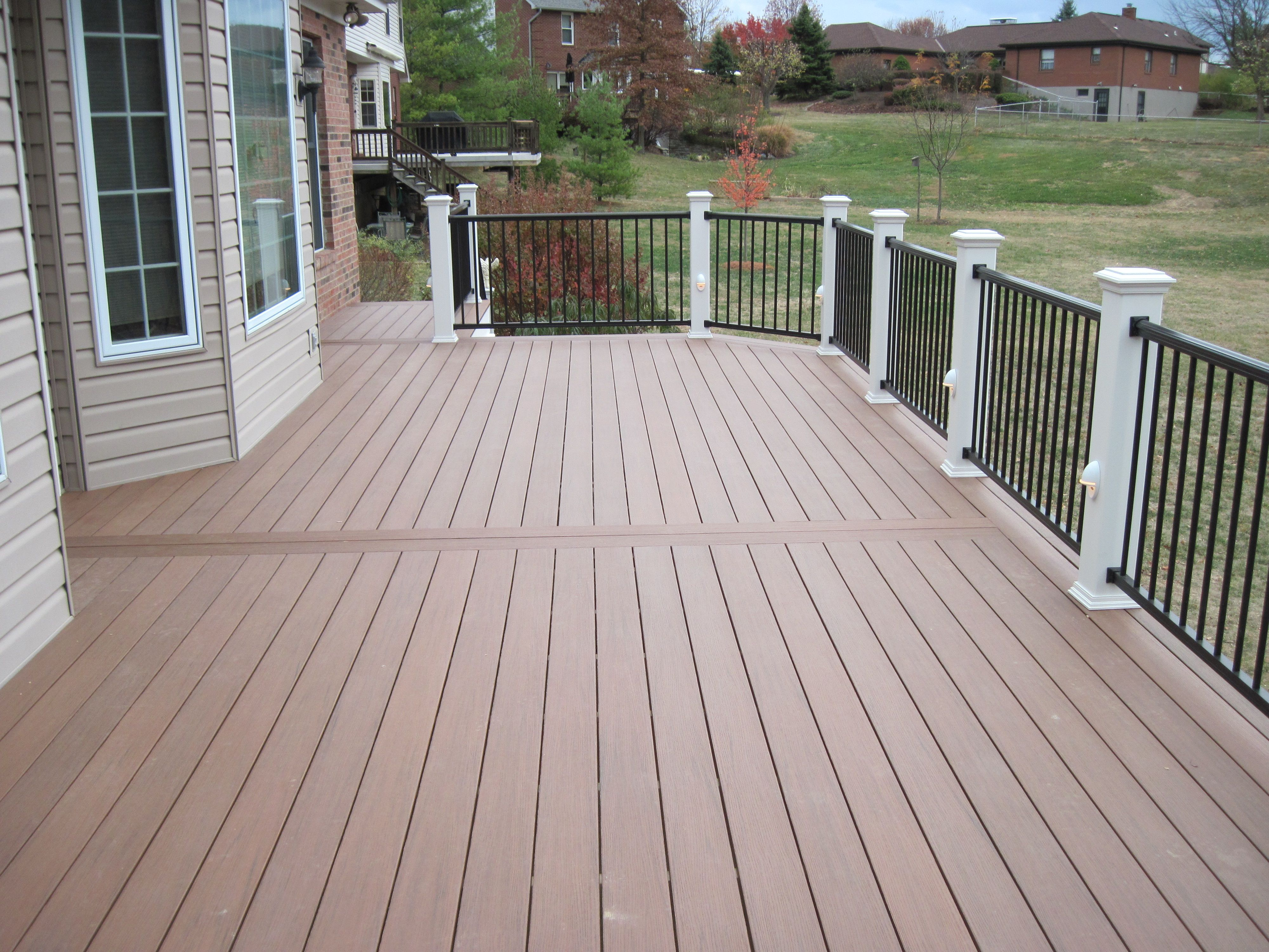 Maintenance free brahma deck boards aluminum railings and for Outdoor decking boards