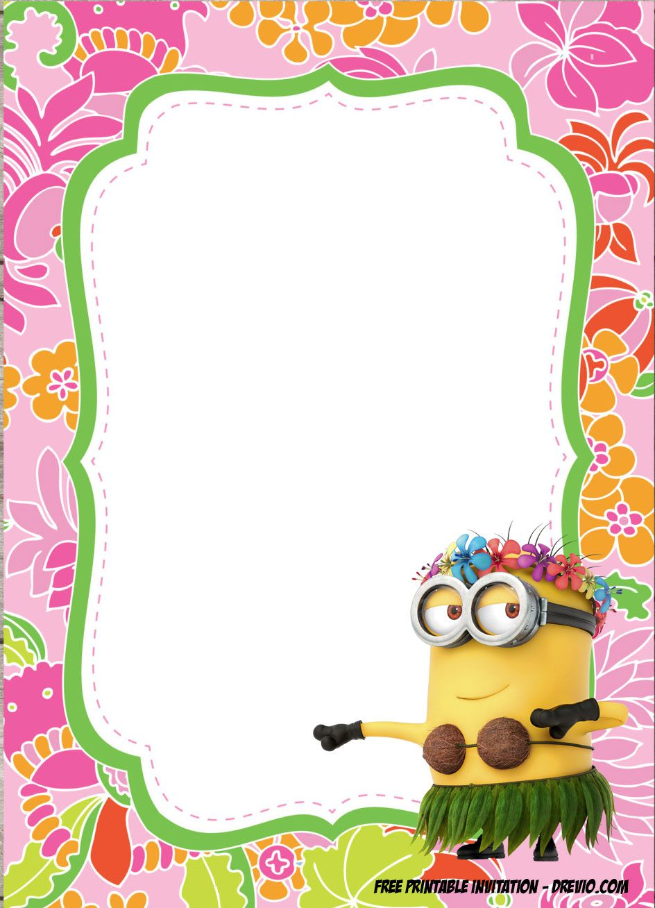 FREE Minions Luau Birthday Invitation Template - Special for Summer ...
