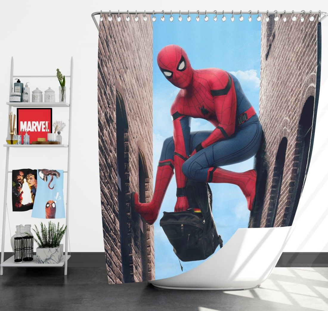 Spider Man Homecoming Marvel Movie Shower Curtain Marvel Movies