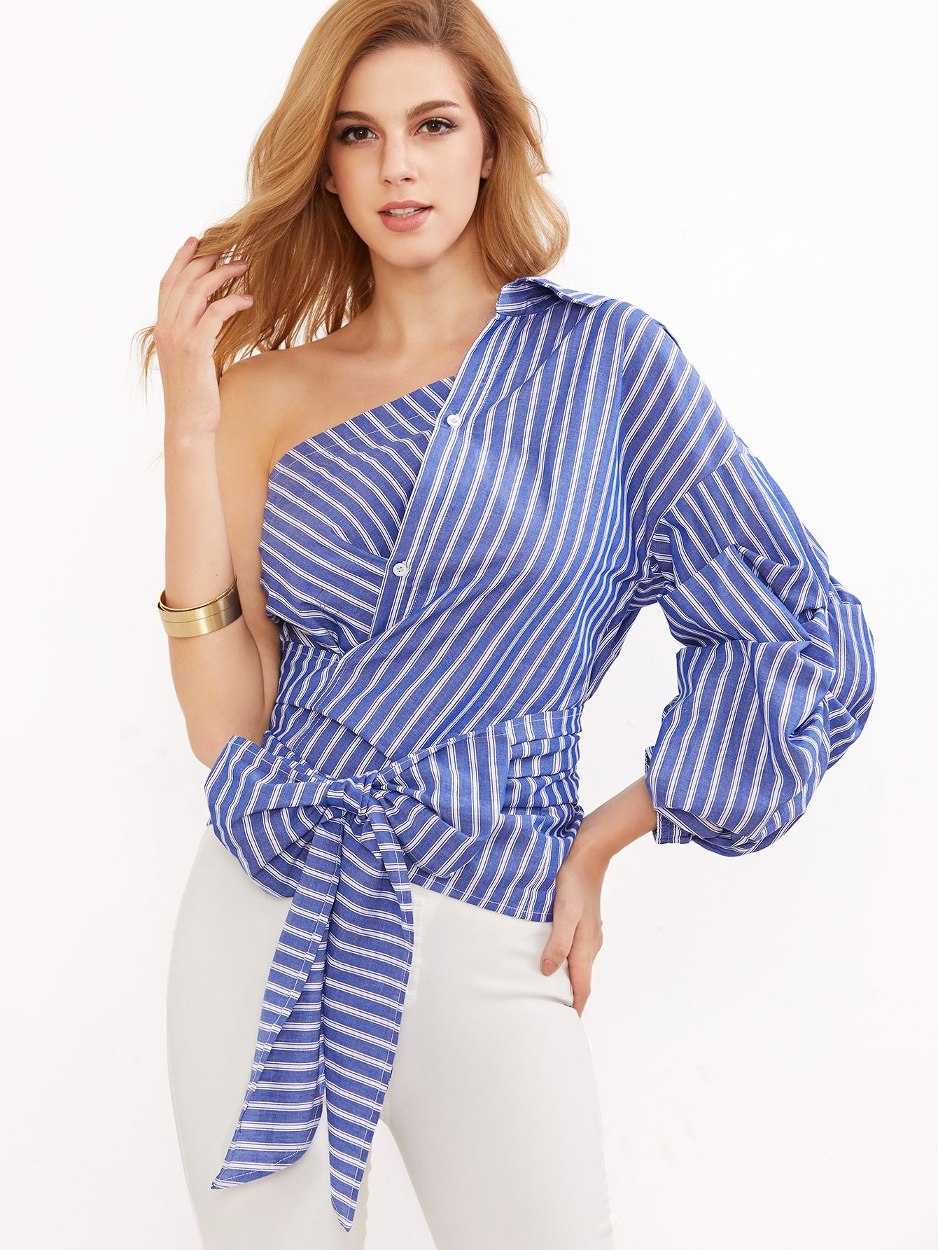 9662d1c2a56461 One Shoulder Striped Wrap Around Button Down Top -SheIn(Sheinside ...