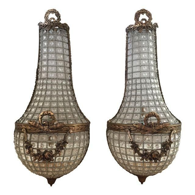 Image Of French Basket Style Crystal Wall Sconces A Pair Crystal Wall Sconces Antique Wall Lights Crystal Wall