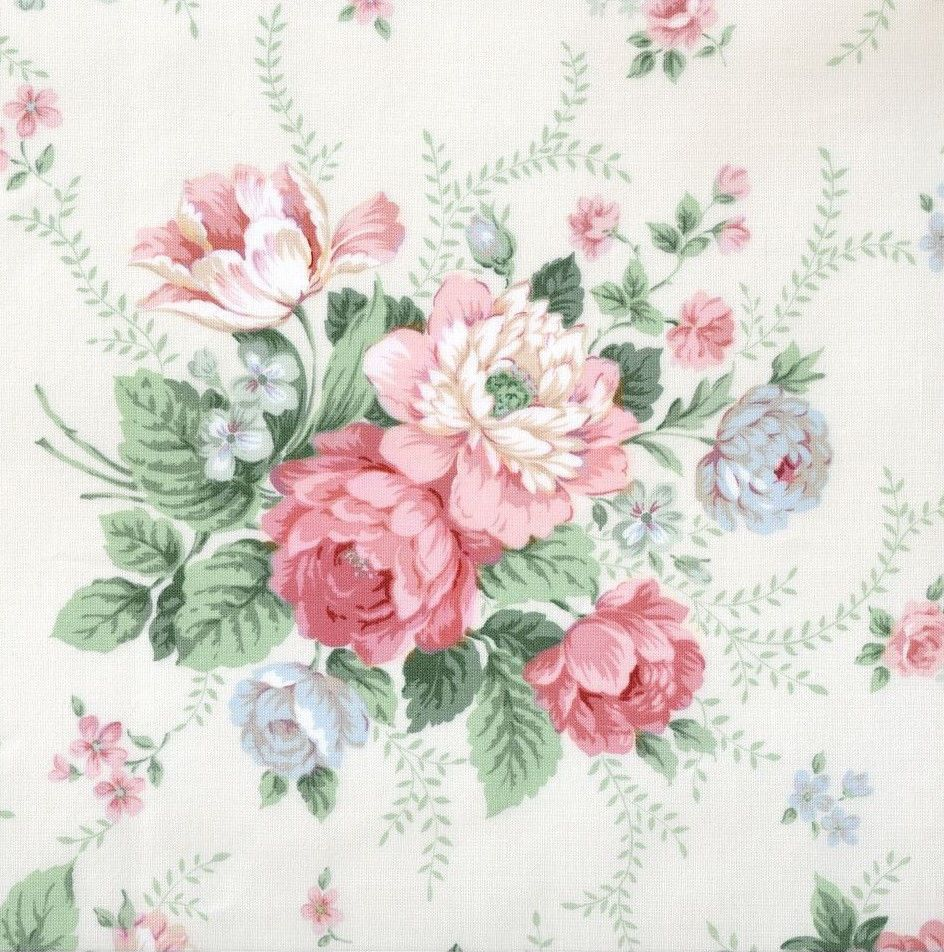 Vintage Roses Fabric by the yard ~ Cotton Quilt Fabric Pink Roses ... : rose quilt fabric - Adamdwight.com