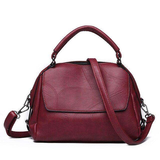 Photo of LUCDO Women Bags Shoulder Bags Sheep Skin Handbag Messenger Bag Hobos Sac A Main Color wine-red