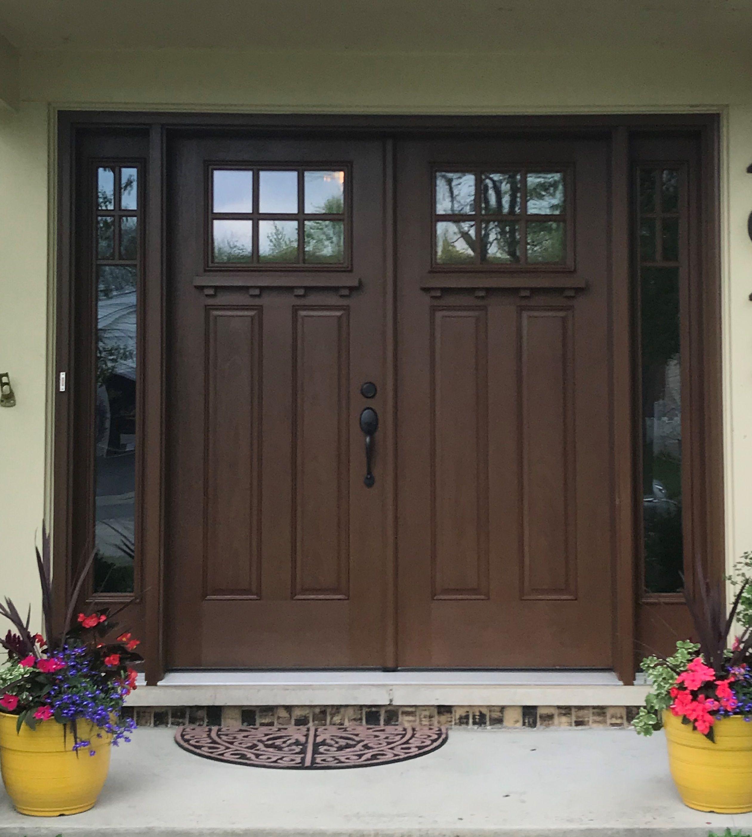 Therma Tru Fiberglass Craftsman Style Double Door With Sidelites