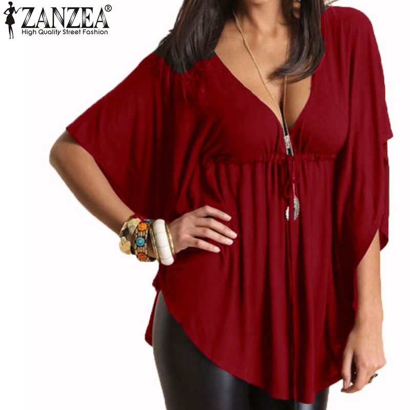 ZANZEA Womens Summer O Neck Short Sleeve Casual Baggy Tops Shirt Blouse Tee Plus