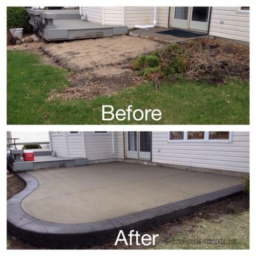 Standard concrete patio with a stamped concrete border in Italian Slate  pattern and Black Ice color - Standard Concrete Patio With A Stamped Concrete Border In Italian