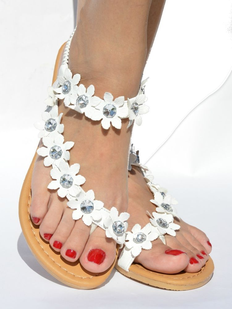Womens Wedges Flat Sandals - Fashion Summer Flower Flip-Flops Sandals Ankle Wrap Shoes