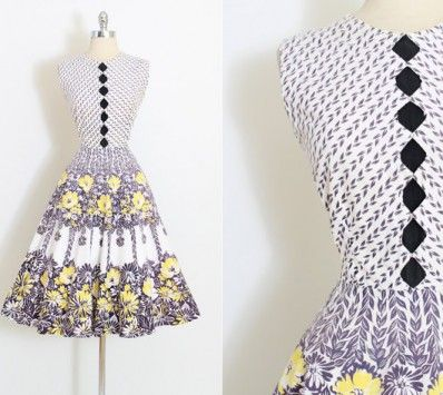 Vintage 50s Dress | 1950s Dress | Cotton Floral Print Rhinestones | Medium | 5883