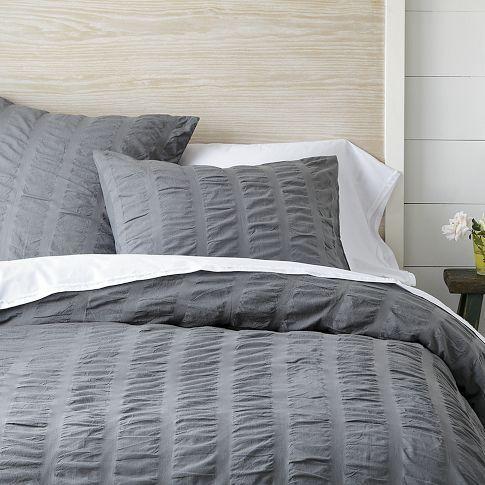 modern master bedroom with threshold seersucker duvet cover set | Organic Seersucker Duvet Cover + Shams - True Gray | west ...