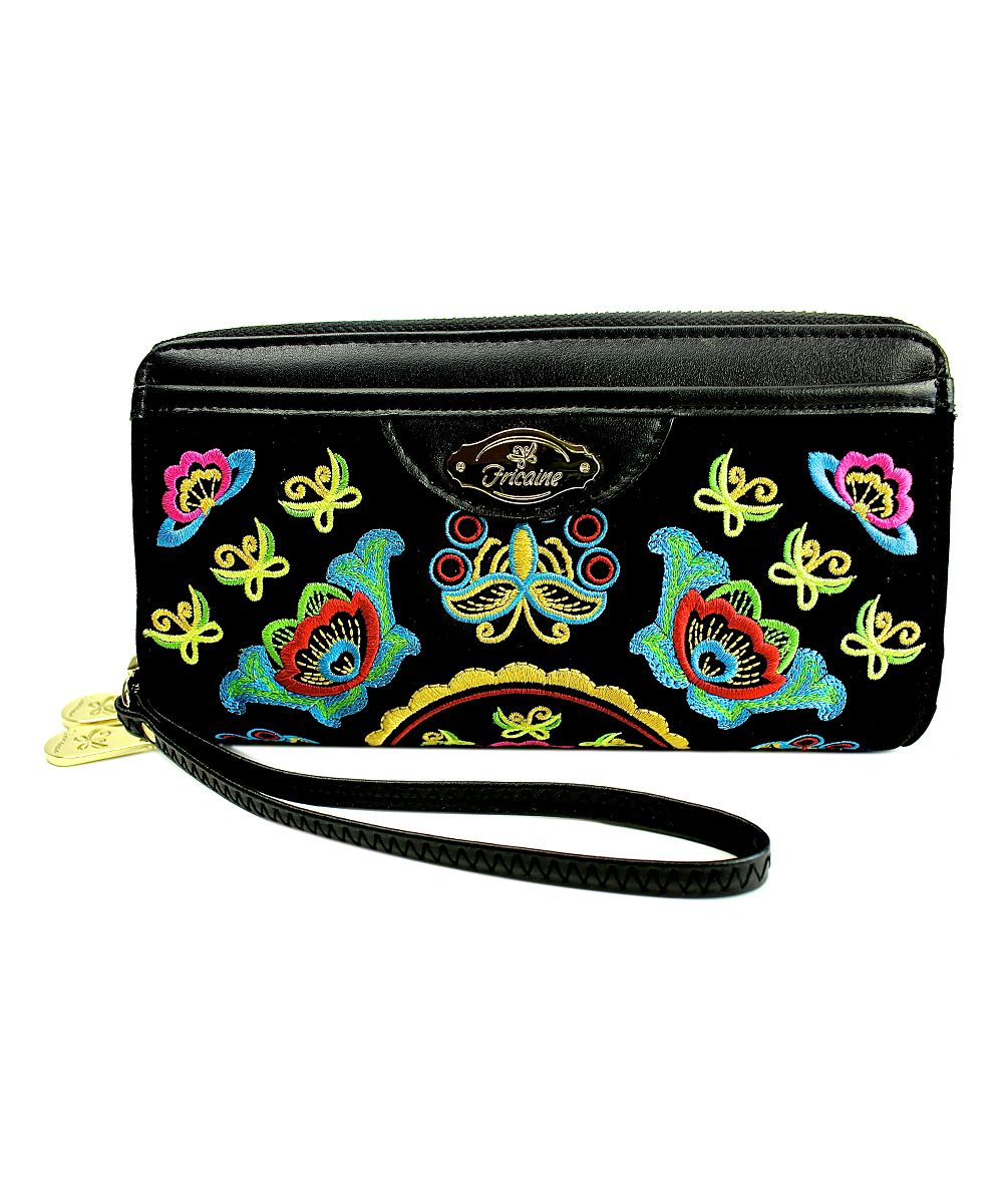 Black Vixen Embroidered Double Zipper Exotic Wallet