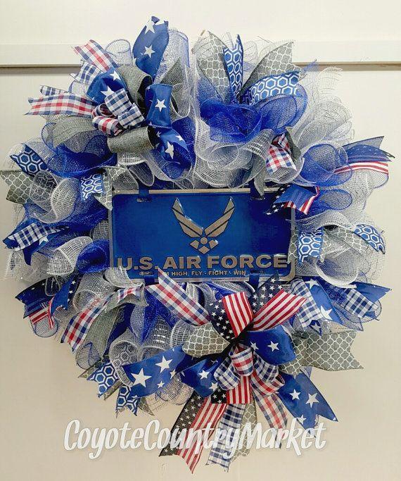 United States Air Force Mesh Wreath Handmade Deco Mesh
