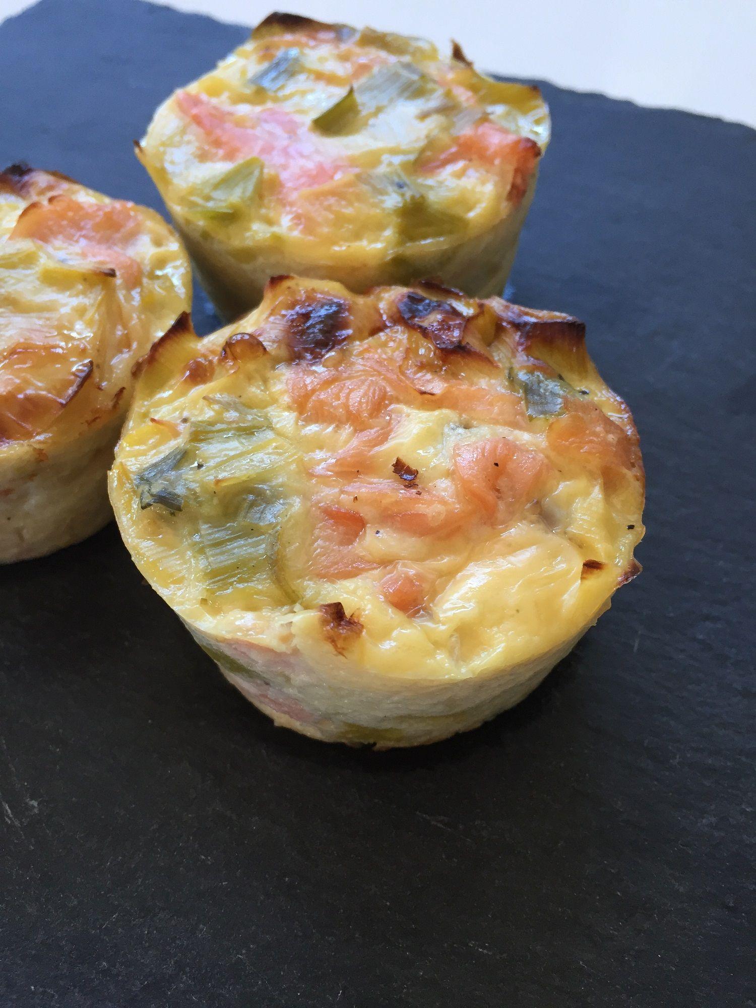 Quiche sans p te ou muffins poireaux saumon fum saumon fum quiche et muffins - Recette quiche sans oeuf ...