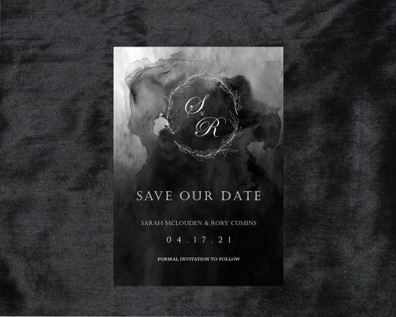 printable template dark moody watercolor save the date