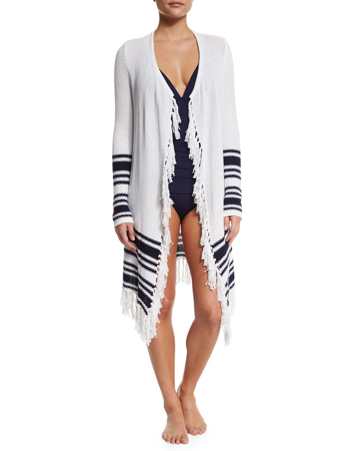 6f64f9699d Open Cardigan Coverup with Tassel-Trim, Women's, Size: XL, White/Mare - Tommy  Bahama