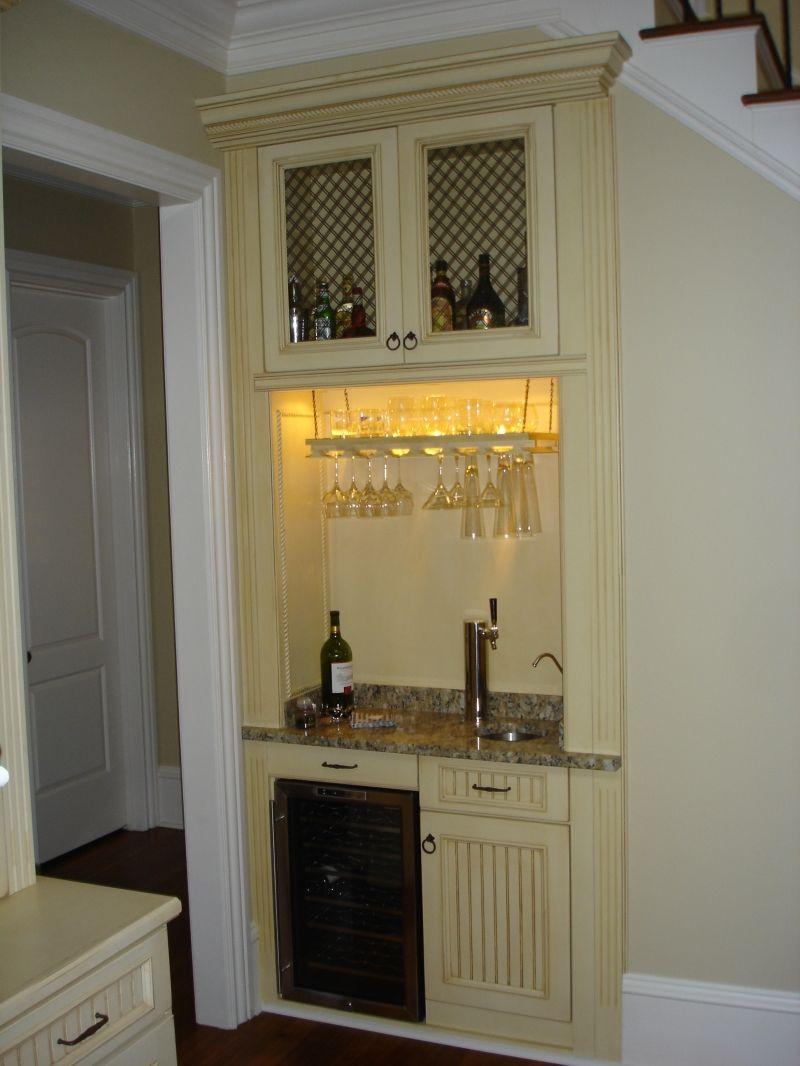 Custom bar with wine fridge beer tap lake living bar - Built in bar cabinets ...