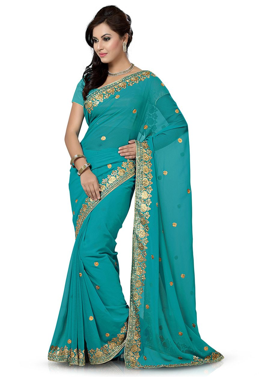 Buy Embroidered Chiffon Saree in Teal Blue online, work: Embroidered, color: Blue, usage: Festival, category: Sarees, fabric: Chiffon, price: $40.87, item code: SSX5322, gender: women, brand: Utsav