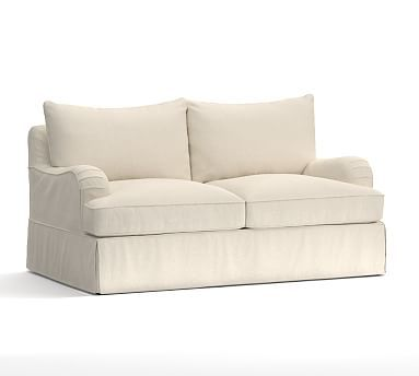 "PB Comfort English Arm Slipcovered Loveseat 65.5"", Knife Edge Polyester Wrapped Cushions, Textured Basketweave Flax"
