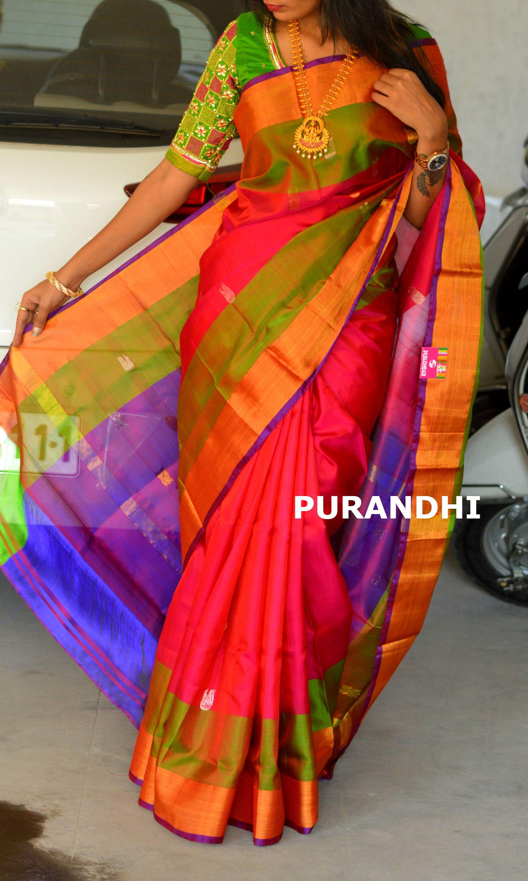 3f2d62536f Pink green and purple colored uppada pattu saree | Pattu saree ...