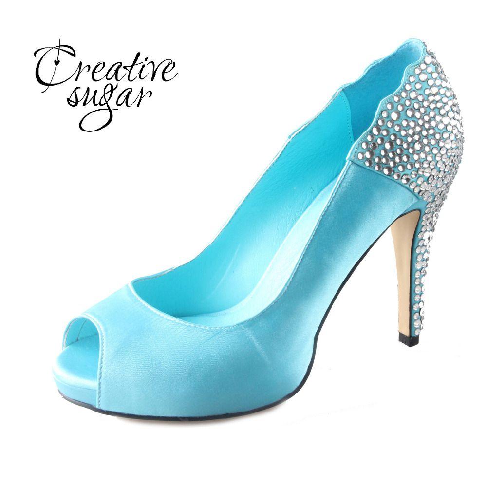 Handmade Aqua Blue Turquoise Rhinestone Heels Open Peep Toe Woman ...