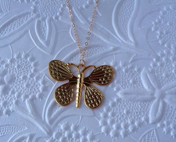 Tiny Gold Butterfly Necklace 14k Gold Filled by DESIGNSBYILAI, $22.00