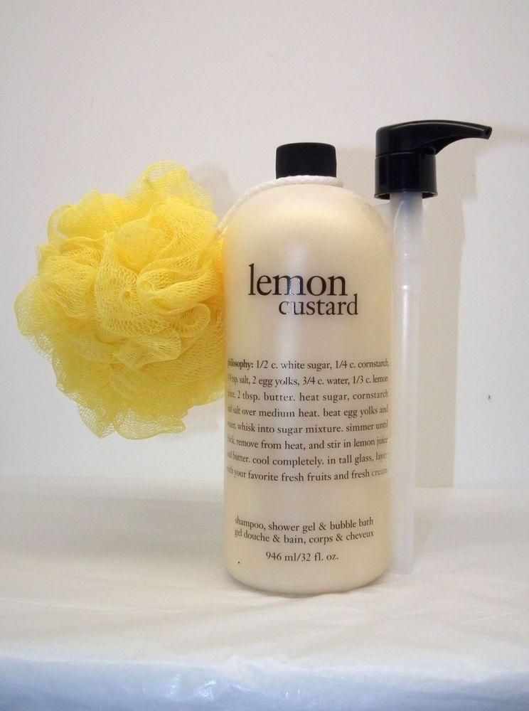 Philosophy Lemon Custard Shampoo Shower Gel Bubble Bath W Pump 32 Oz Sealed Philosophy Lemon Custard Shampoo Shower Gel