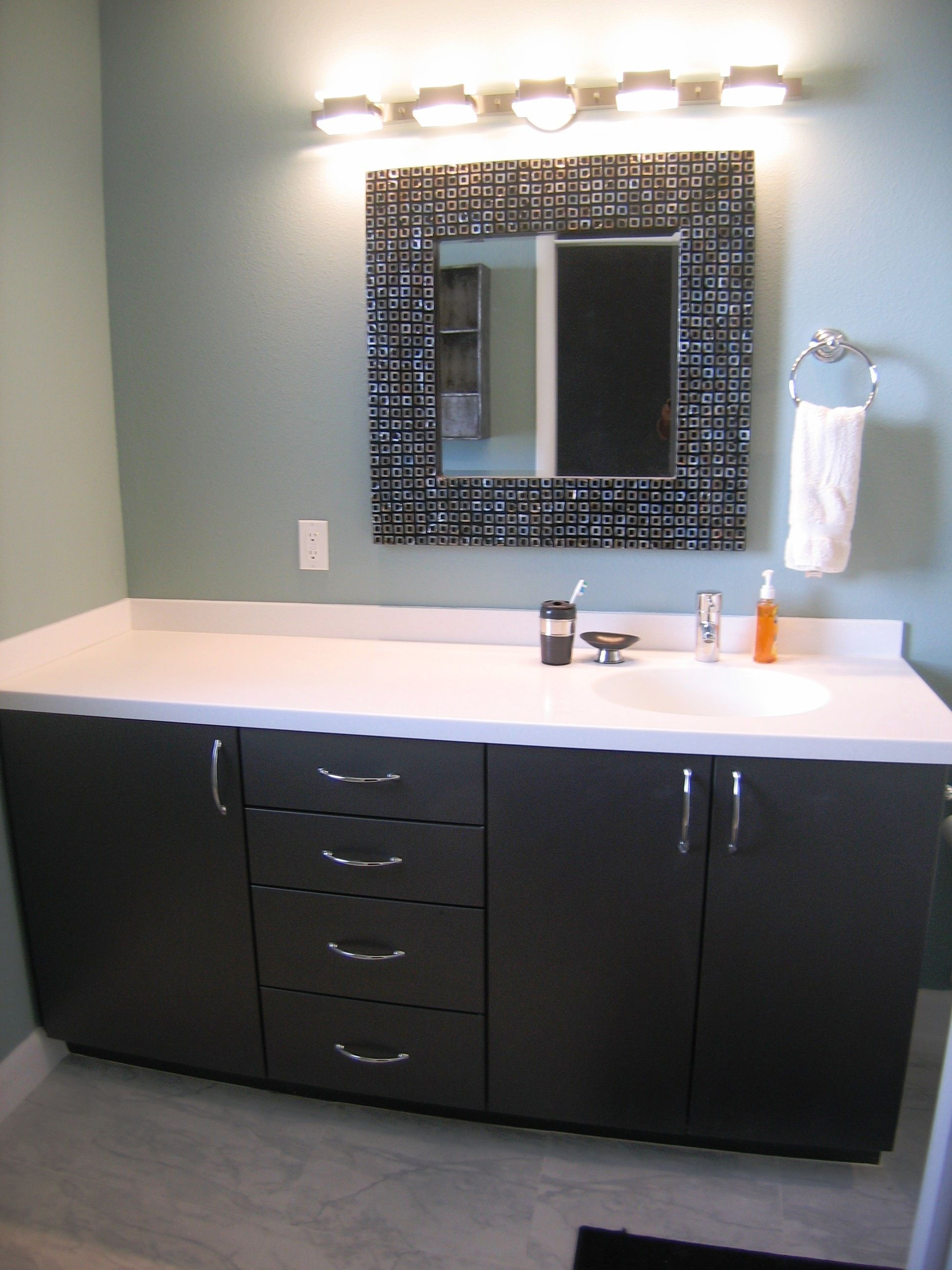 Thermofoil bathroom vanities - Vanity From Ultracraft Cabinetry Adriatic Doorstyle With Shark Thermofoil Corian Antarctica Counters Lighting