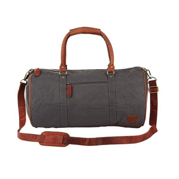 MAHI LEATHER Leather Classic Duffle Overnight Gym Bag in Grey Canvas .   mahileather   71917a5395704