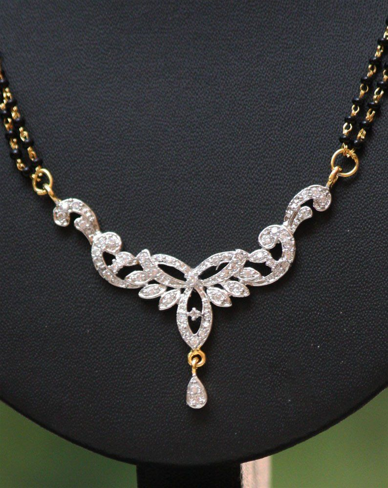 American diamond mangalsutra set with earrings to buy pinterest