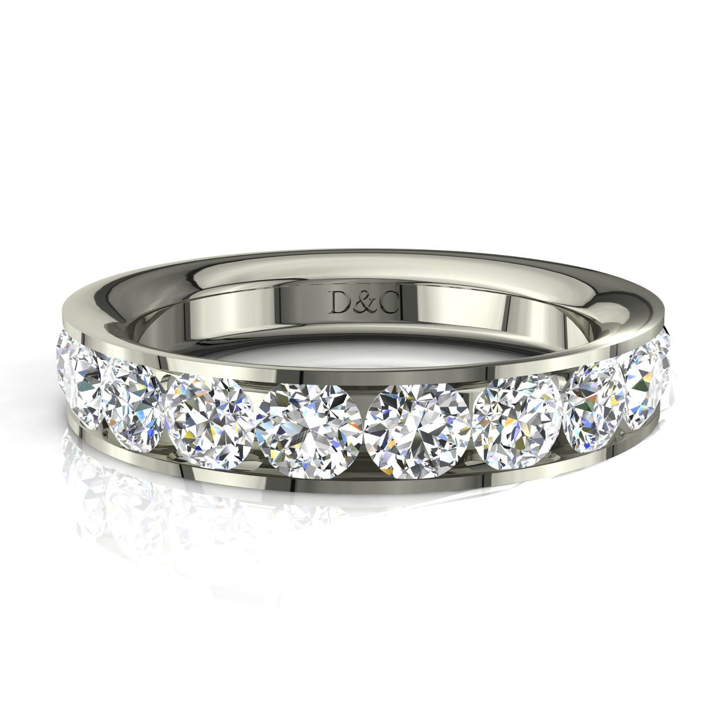 usine authentique cc902 acfde Alliance mariage diamants ronds rail 1.50 carat or blanc ...