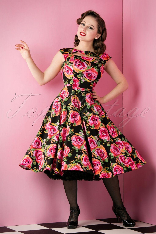 50s Selma Floral Swing Dress in Black | Swings, Floral and Black vans