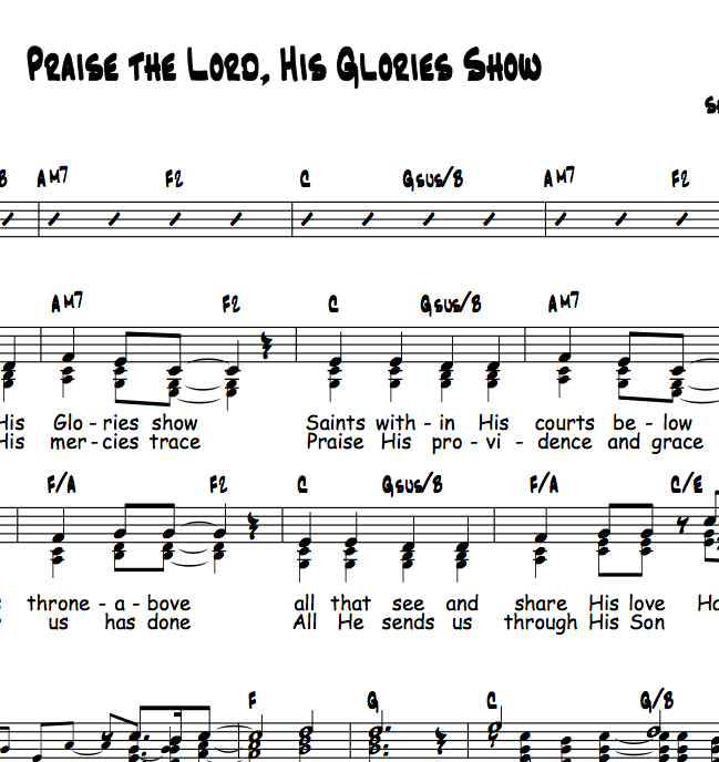 Do Re Mi Lyrics Sheet Music: Praise The Lord, His Glories Show