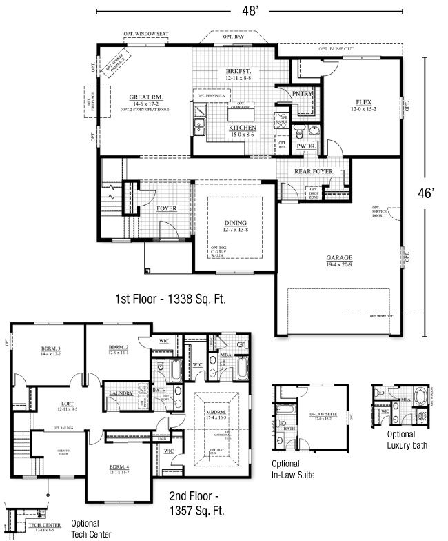 Two Story Home Plans With First Floor Master Tamarack Floorplan