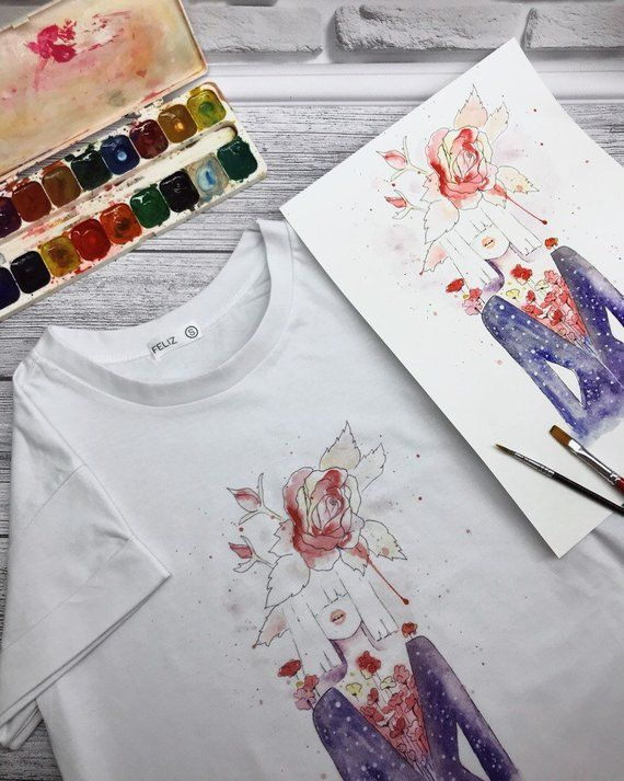 Women S T Shirt White Clothing Print Watercolor Gift For Her