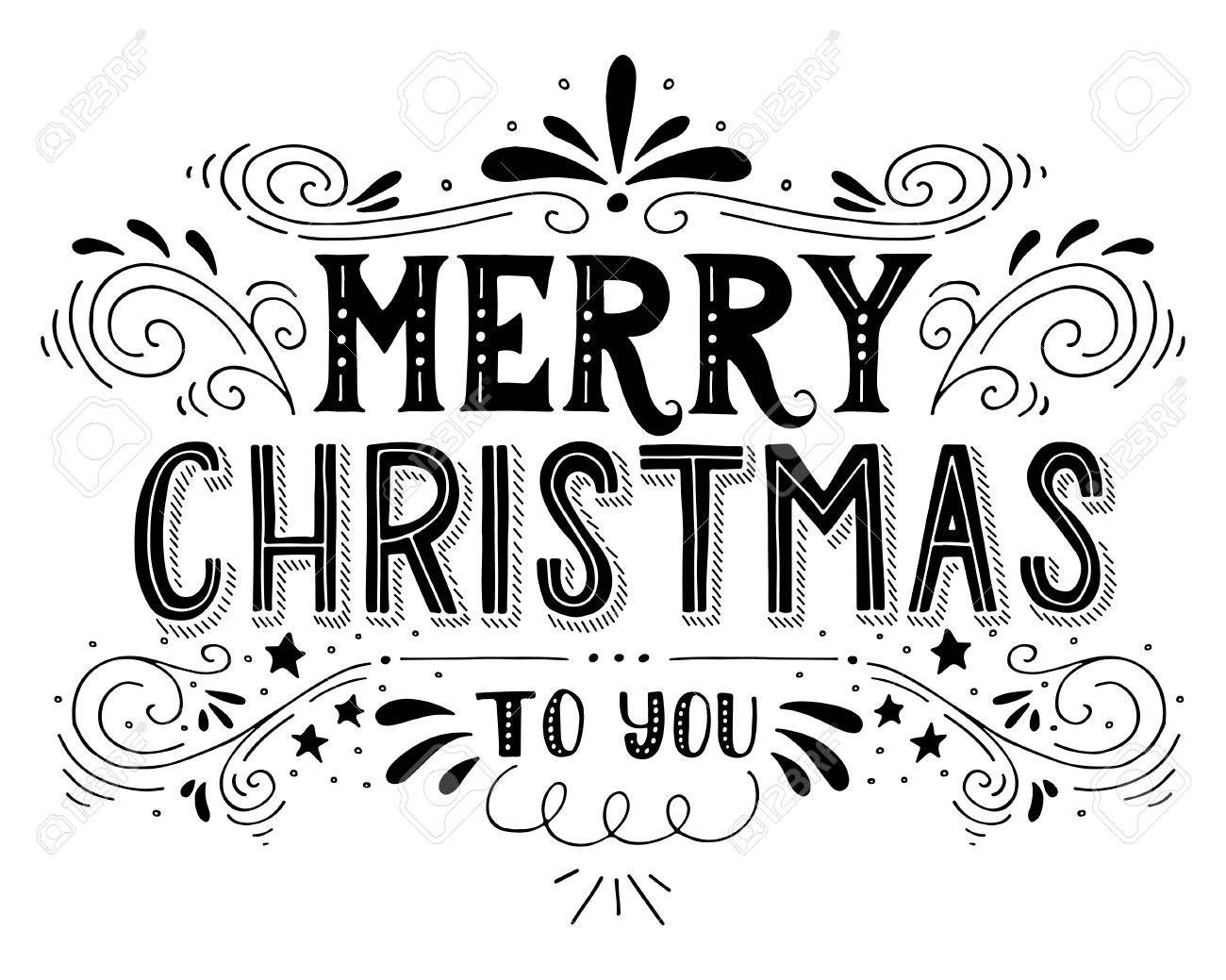 Merry Christmas retro poster with hand lettering and decoration..