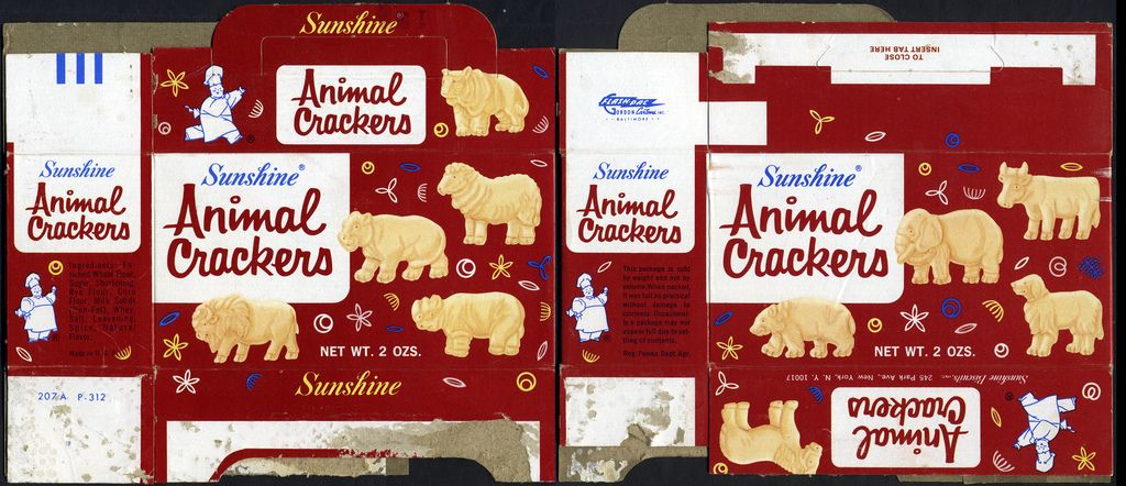 Sunshine Animal Crackers Cookie Box 1970 S Animal Crackers Christmas Ornaments Homemade Vintage Packaging