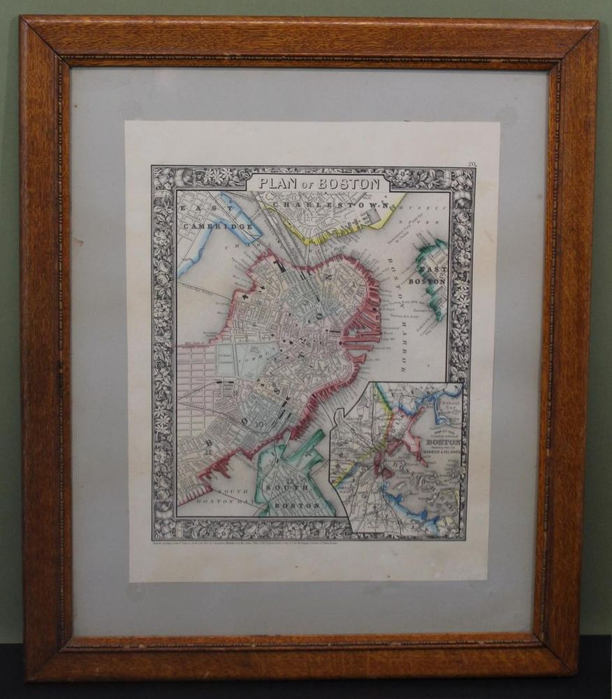 Map Of Us States In 1860%0A      Antique   thC PLAN OF BOSTON  u     HARBOR Augustus Mitchell Hand Colored  Map