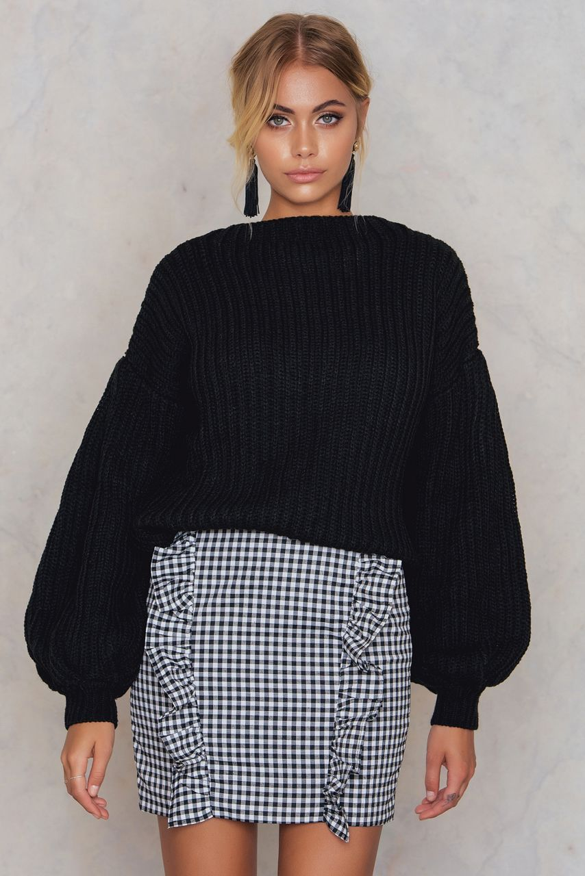 2cb7449b273ba6 Balloon Sleeve Knitted Sweater Black | Fashion clothes online ...