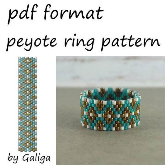 Peyote ring pattern Boho beaded jewelry making Rose gold jewelry Diy