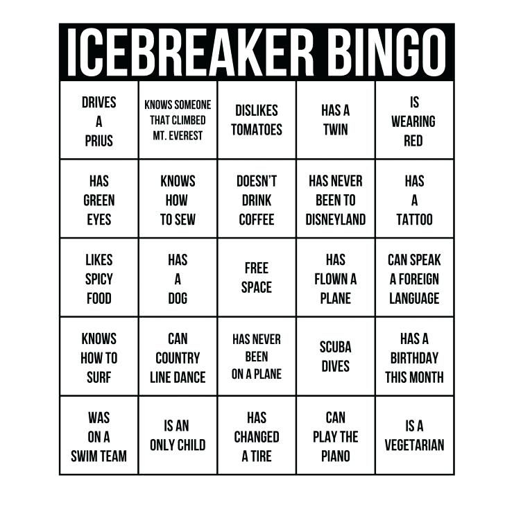 printable printable human bingo template to ice breaker card cards