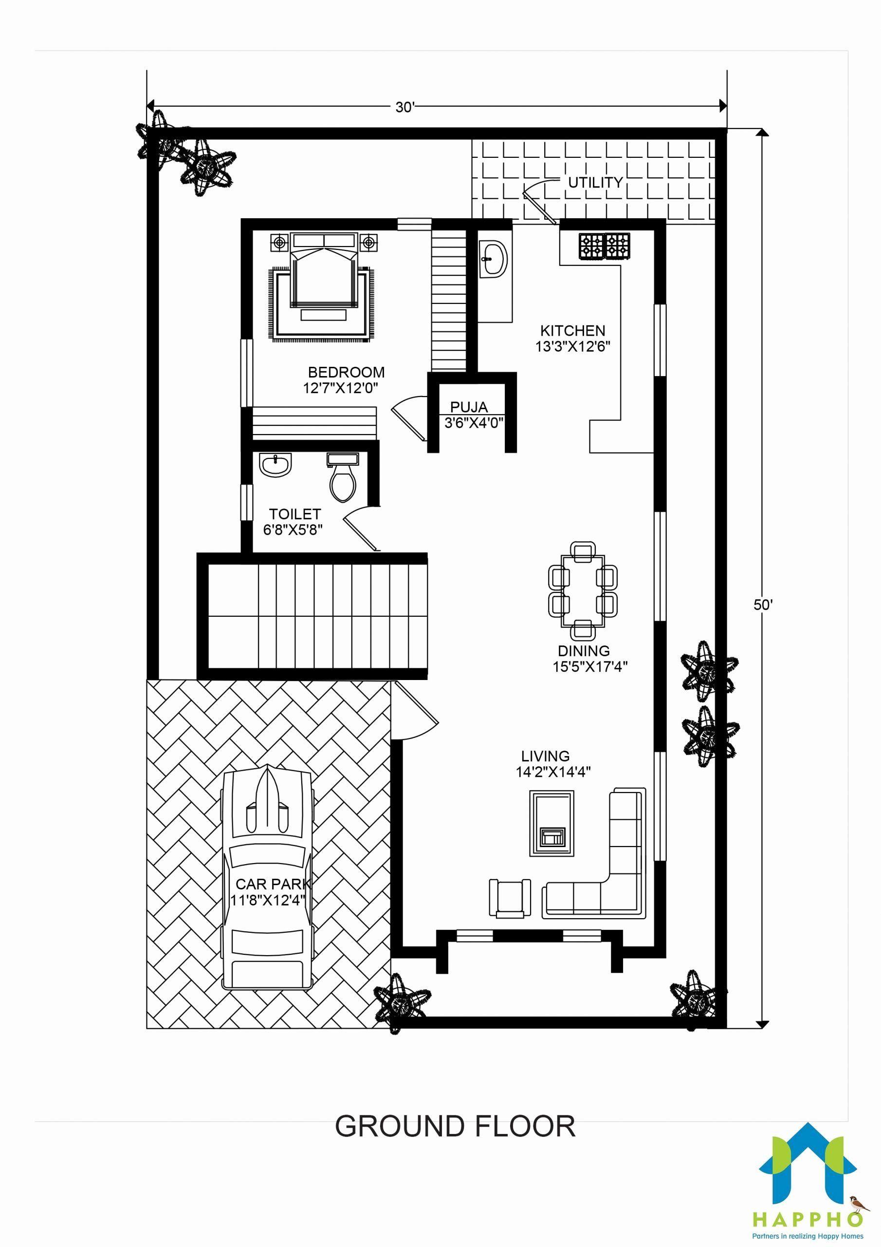 50 X 30 House Plans Fresh Floor Plan For 30 X 50 Feet Plot Barndominium Floor Plans Floor Plans House Plans