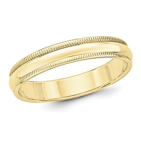 Zales Mens 4.0mm Milgrain Engraved Wedding Band in 10K Gold (1 Line) oTYkxZGb8